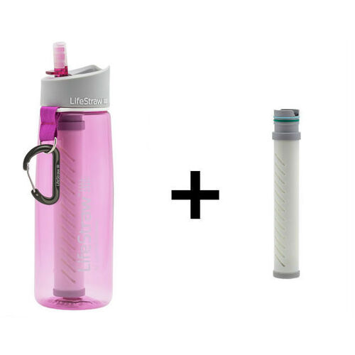 LifeStraw Go 2-Stage Filtration Water Bottle PINK with spare filter element